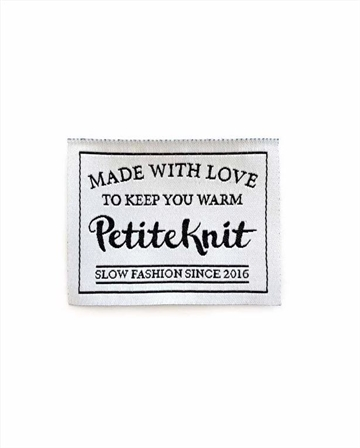 "PetiteKnit label ""Made With Love To Keep You Warm"""